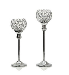 elegant Gold Crystal candle holders Set of 2 wedding centerpiece decoartion candlestick home decor fireplace candelabra and candle holder on Sale