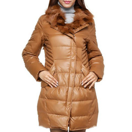 Barato Lapela Do Casaco-2017 Mulheres de inverno Warm White Duck Down Jacket Moda feminina Slim Raccoon Fur Lapel Collar Down Jacket Waterproof Parkas GJL54