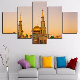 islamic cartoon Canada - 5 Pcs Set Framed HD Printed Islamic Architecture Castle Mosque Picture Wall Print Poster Canvas Oil Painting Cuadros Decorativos