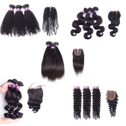 Discount ombre hair Brazilian virgin hair with closure deep wave human hair with lace closure straight body wave loose wave kinky curly with 4x4 closure
