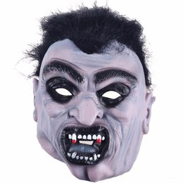 black hair angry zombie demon full head mask latex devils scary mask halloween prank prop for costume masquerade mascara cosplay