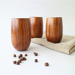 wholesale wooden mugs NZ - Free Shipping Retro Wooden Coffee Cups Mug Tea Cup Drinkware 150ML Factory In Stock With High Quality