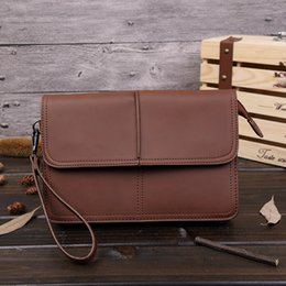 A4 Document Wallet NZ - fashion Envelope Bag Women Men Leather Clutch Purse Document Bags Men's A4 Bag large capacity String Handbag Coffee phone clutch briefcase