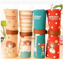 Material Storage Bags Canada - Wholesale-1PC lot Island cute girl&Animal Canvas pen & pencil bag school pencil case Storage bag papelaria material escolar Stationery