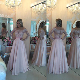 Discount ruffle chiffon long prom dresses - Gorgeous Light Pink Long Sleeves Prom Dresses Sexy Off the Shoulder See Through Back Zipper Evening Gowns African Formal