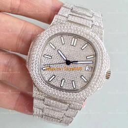 Christmas diamonds online shopping - Best Quality Nautilus Diamond Watch Automatic Movement Waterproof Luxury Watch Man mm Stainless Sweep Move Set Diamond Iced Out Watch