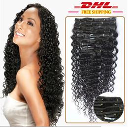 Human Hair Clip Dhl NZ - 7A 1B# natural black Clip In Human Hair Extesnison 160g 10pcs 16-26'' Virgin Brazilian indian deep wave Clip In Hair Extensions dhl free
