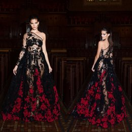 Barato Impressão Da Luva Do Vestido De Noite-Sexy Long Sleeve Vestidos de noite One Shoulder Lace Applique Printed Illusion Bodice Black Formal Prom Gowns