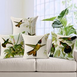 Wholesale Vintage Decorative Home Cotton Linen Pillow Case Cover Living Room Bed Chair Seat Waist Throw Cushion Hand Painting Hummingbird Pillowcases