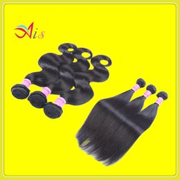 human hair machine weft 2019 - Remy Human Hair 7A Unprocessed Brazilian Natural Hair Weft 3Bundles lot 1B Virgin Weave Straight Type Human Hair Extensi