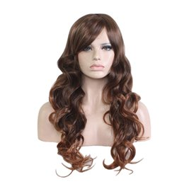 Womens Wigs Canada - WoodFestival fashion womens daily wear wig oblique bangs brown mixed color synthetic hair wigs long curly wavy cosplay fiber wig 65cm