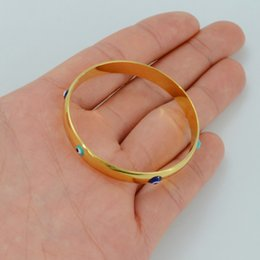 $enCountryForm.capitalKeyWord NZ - Anniyo 5CM 4CM,Arab Bangle for Baby Child,Gold Color Blue Eye Bracelet Kids Jewelry Middle East Africa Infant #004701