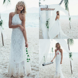 Barato Vestido Sem Alças Barato Da Sereia-Cheap Mermaid Beach Wedding Dresses Backless Lace Appliqued Halter Neckline Bridal Gowns Sexy Sweep Train Vestido de Noiva