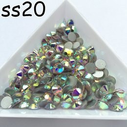 Pierres De Strass Lisses Pas Cher-Vente en gros 1440pcs / lot, SS20 AB Crystal Shiny Loose FlatBack Non Hot Fix Strass Crystal Rhinestones Nail Art Colle Sur Cristaux Flatbacks