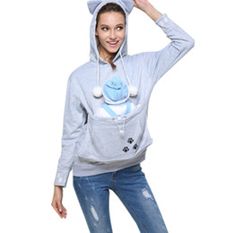 kangaroo pocket 2019 - Cat Ears Hoodies With Hat Cuddle Pouch Kangaroo Pocket Dog Pet Hoodies Casual Pullovers Cute Plus Size Sweatshirt Women