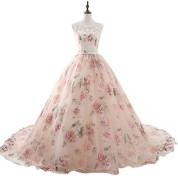 $enCountryForm.capitalKeyWord UK - Beautiful Flower Print Floral Wedding Dresses Real Photo Princess Cheap Simple Lace Pink Blush Bridal Ball Gowns Gelinlik 2017