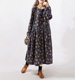 Manches Vintage Maxi Pas Cher-2017 Nouveau Style Automne Hiver Femmes Robes Vintage Impression Casual Long Sleeve Coton Lin Maxi Robe Swing Floral Grande Taille Robe