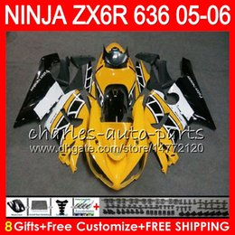 Chinese  8Gifts 23Colors kit For KAWASAKI NINJA ZX 636 ZX 6R 05-06 600CC 27NO62 ZX-636 Yellow black ZX-6R 2005 2006 ZX636 ZX6R 05 06 Fairing Bodywork manufacturers