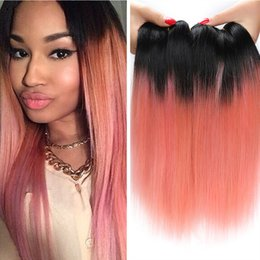 $enCountryForm.capitalKeyWord Canada - Top 1B Rose Gold Ombre Human Hair Extensions Brazilian Straight Hair Two Tone 1b Pink Ombre Virgin Hair 300g Weaves