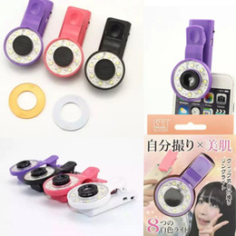 Wholesale Mini Selfie Filter LED Flash Fill Light Camera Micro lens Enhancing Clip External Spotlight Wide Angle Fish Eyes Lens for iPhone Samsung HTC