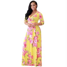 f858eea86553 New Style Boho Summer Beach Maxi Long Dress Three Quarter Sleeve V-neck  Elegant Party Dress With Belt Women Floral Print Dresses