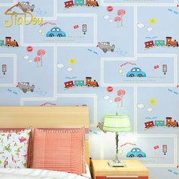 Wallpapers Walls Cartoons Australia - Cartoon Environmental Protection Non-woven Wall Paper Children's Room Blue Stripe Car Wallpaper Boys And Girls Bedroom Wallpaper