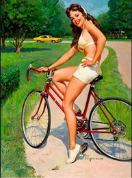 $enCountryForm.capitalKeyWord NZ - Framed GIL ELVGREN Cycling,Pure Handpainted Pinup Girl Art Oil Painting On Quality Canvas Multi Sizes Free Shipping Pin043