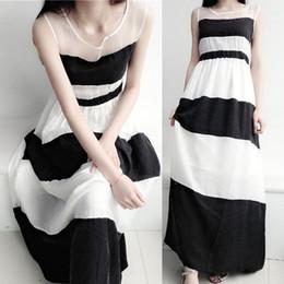 $enCountryForm.capitalKeyWord NZ - The new summer of 2017, the new female black and white stripes, sleeveless net, chiffon vest, long skirt long skirt