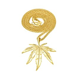 $enCountryForm.capitalKeyWord Canada - Wholesale and Retail Men Hip-Hop Pendant Necklace Alloy Copper Link Chain Gold Plated Leaves HIPHOP Necklace Jewelry