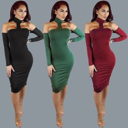Robes Longues Longueur Au Genou Pas Cher-Femmes Sexy Night Club Bodycon Halter robe de couleur solide New Automne Mode Ladies Long Sleeve Split robe de genou Robes