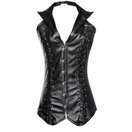Barato Hot Girls Corsets-Hot Sale Steampunk Leather Halter Cotset Tops Atacado Corsets Vestuário Out Wear Slim Slimming casaco casual para Hot Girl 0915
