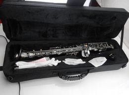 China 54 Soprano saxophone B-flat tone yoga pearl black Soprano elbow sax professional suppliers