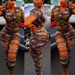 army green bodysuit Canada - Wholesale- 2017 New Camouflage Jumpsuit Hooded Overalls Women Bodysuit Rompers Womens Hole Army Green Suits Plus Size Combinaison Femme