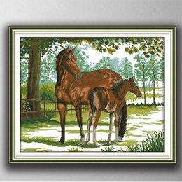 Profundo amor de mãe e filho cavalo animal 11CT contados impressos em lona DMC 14CT DIY Cross Stitch Needlework Kits Bordados Set venda por atacado