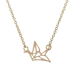 Origami Necklace Charms UK - 2017 New Fashion Friendship Handmade Necklace Lovely Origami Crane Necklaces for Women Cute Bird Long Chain Necklaces Party Gift