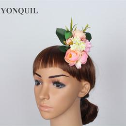 $enCountryForm.capitalKeyWord NZ - New Flocking Cloth pink Rose Flower Hair Clip Hairpin DIY Headdress party Hair Accessories For Bridal Wedding or dress brooch Free Shipping