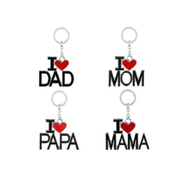online shopping I Love DAD MOM MAMA PAPA Keychain Letter Red Heart Love Key Chains Rings Fashion Jewelry for mother father Gift Drop Shipping