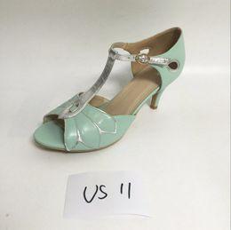$enCountryForm.capitalKeyWord Canada - US11-27.5Cm Mint Green Peep Toe T-Strap Women Sandal Silver Leaves Shoes Ladies 8Cm High Heels Summer Shoes Women In Stock