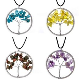 necklaces pendants Australia - Natural Tree Of Life Pendant Necklace Crystal Stone Beads Wisdom Creative Handmade Tree Necklaces Women Jewelry Accessories Christmas Gift