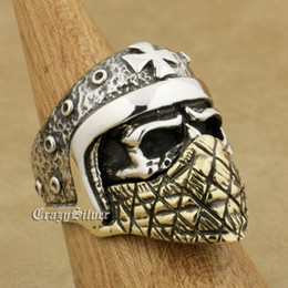 motorcycle helmet sizes 2021 - LINSION 925 Sterling Silver Motorcycle Helmet Skull Brass Mask Mens Biker Ring TA23 US Size 7 to 15