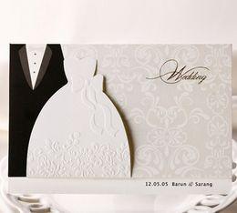 bride groom laser cut invitations 2019 - Wholesale- 50psc Laser Cut Wedding Invitations Creative Elegant Vintage Groom and Bride Black White Formal Wedding Invit