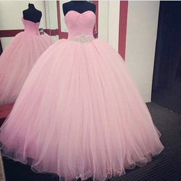 Discount black evening dresses new designs New Design Baby Pink Quinceanera Dresses Ball Gown Floor Length Tulle Sash With Beaded Crystals Custom Made Prom Dresses