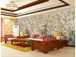 Bird Wallpapers For Living Room Canada - 3d wallpaper for room Hand painted with flowers and birds 3d murals wallpaper for living room