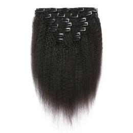 clip malaysian hair extensions 2019 - Mongolian Kinky Straight Clip Human Hair Extensions 7pcs Lot Virgin Human Clip In Hair Extensions G-EASY discount clip m