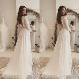 Simple Lace Wedding Dress V Neck NZ - 2017 Simple Elegant Bohemian Wedding Dresses Deep V Neck Lace Long Sleeves Chiffon Floor Length Beach Backless Bridal Gowns
