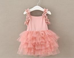 $enCountryForm.capitalKeyWord Canada - Hot Sell Kids Sweet Dress Baby Girls Foral Suspender Skirt Multi Layers Pink Lace Dress Girls Tutu Skirt Baby Party Dress 5pcs lot Q0780