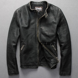 Men short sleeve leather jackets online shopping - Schotts Vintage Man motorcycle leather jacket Cowhide genuine leather men s Slim short coats stand collar plus XL