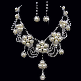 China Luxury Wholesale Jewelry NZ - Luxury Pearl Crystal Flower Pendant Necklace & Earrings Bridal Wedding Jewelry Set Rhinestone Pearl Necklace Earring Set for Bridesmaid