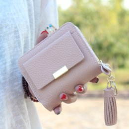 Discount small ladies wallets - Wholesale- Women short wallet small tassel purse female zipper coin bag mini women coin purse brand designed lady key wa