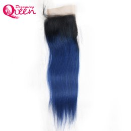 $enCountryForm.capitalKeyWord UK - T1B Ocean Blue Color Straight Lace Closure Ombre Brazilian Virgin Human Hair 4X4 Lace Closure With Baby Hair Bleached Knots Closure